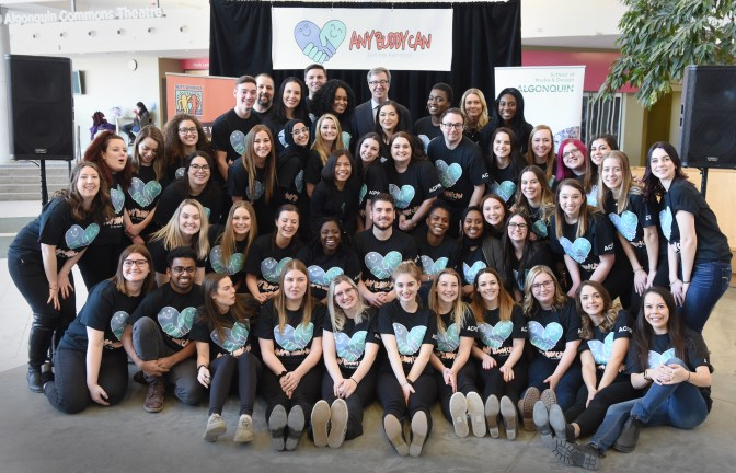 """A group shot from the """"AnyBuddy Can"""" campaign launch. Public relations students from Algonquin College are hosting a carnival-themed fundraiser in support of Best Buddies Canada at the Clocktower Brew Pub (418 Richmond Rd.).Photo by Marilyn Mikkelsen"""