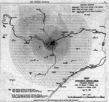 CBC Ottawa's coverage area illustrated in The Ottawa Journal, May 9 1953