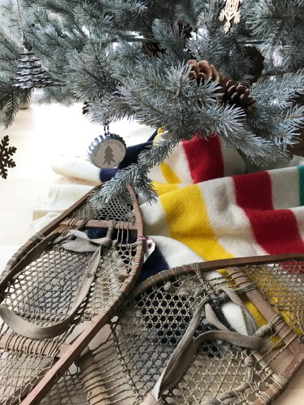 "Snowshoes and Hudson's Bay blanket complete the ""classic Christmas"" look"