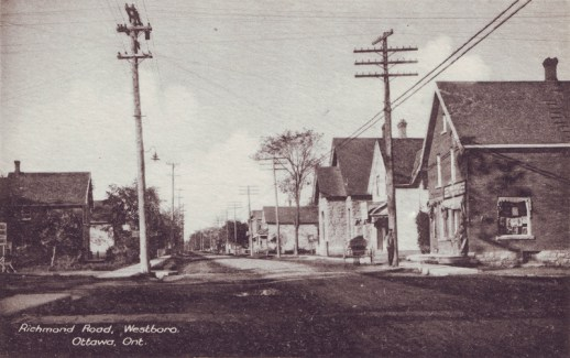 "This postcard from 1910 shows Richmond Road looking west at Churchill. ""There is nothing to be seen on the Lululemon lot. The first visible building is the 1898 Andrew Cowan house,"" says Dave Allston. ""Also is a very useful photo to show how thin Richmond Road originally was, before the widening in 1939."""