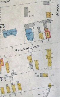 This 1922 fire insurance plan shows the buildings and their construction types at this time. This plan shows the original part of the building which morphed a couple of times over the years.