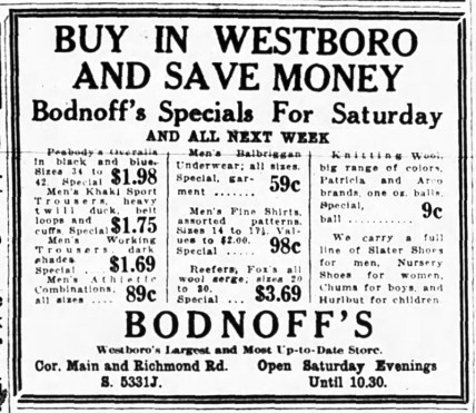 Ad for Bodnoff's in the May 8, 1924 edition of the Ottawa Journal.