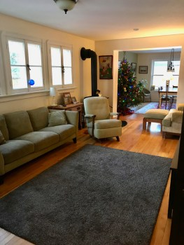 A comfy living area with wood stove