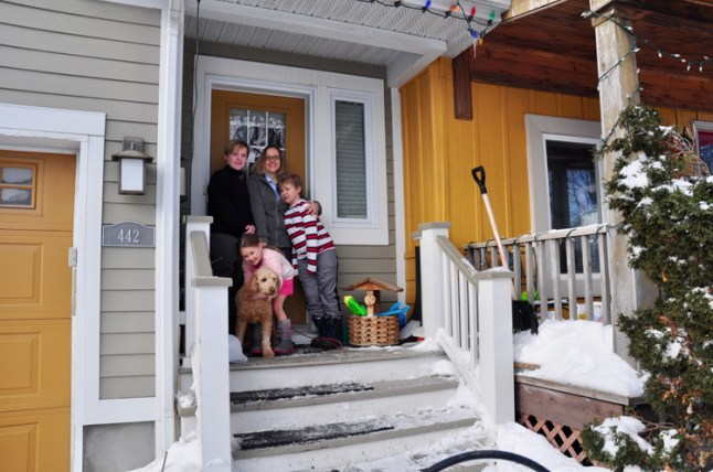Lisa Mielniczuk and her children, Olivia (6), Rowan (8), Charlie (12), and Jax, their four-year-old golden doodle.