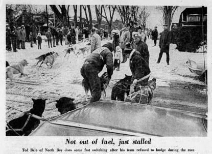 The dog sled race passes Byron and Clarendon as pictured in the Ottawa Citizen on Monday January 27, 1969.