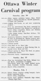 The program of the Ottawa Winter Carnival, published in The Ottawa Citizen on Saturday Jan. 30, 1965.