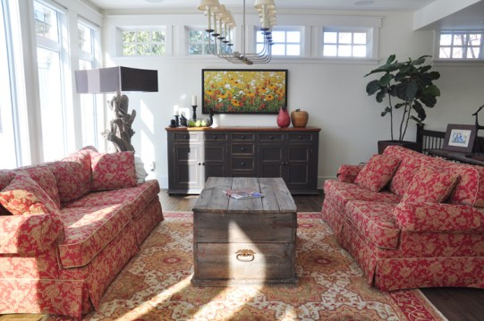 Downstairs living area is bathed in natural light. Photo by Andrea Tomkins