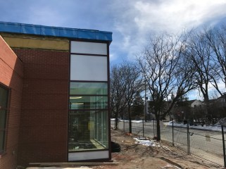 Exterior view of Dovercourt's new addition. Landscaping and tree planting still to come. Photo by Andrea Tomkins