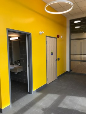 The new addition has office space, storage space, and two fully accessible gender-neutral washrooms. Photo by Andrea Tomkins