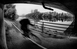 """Cyclist zooming"" by Steve Chapeau"