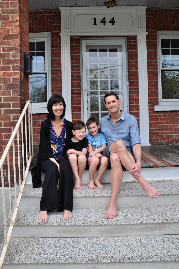 Alison Zinni and Eric Lussier with their sons Oscar and Jack. Photo by Andrea Tomkins