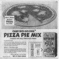 1957 advertisement for Chef Boyardee pizza mix