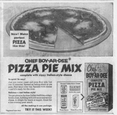 1957 advertisement for Chef Boyardee pizza mix