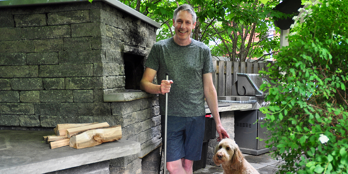 Andrew and his woodturning pizza oven