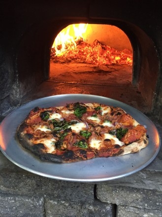 Hot pizza right out of the oven.