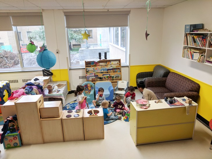 Kids play in one of the new spaces at Garderie Tunney's Daycare.