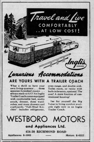 """Ad from Westboro Motors for an RV """"Trailer Coach"""" as it appeared in the Saturday, October 11, 1947 edition of the Ottawa Citizen."""