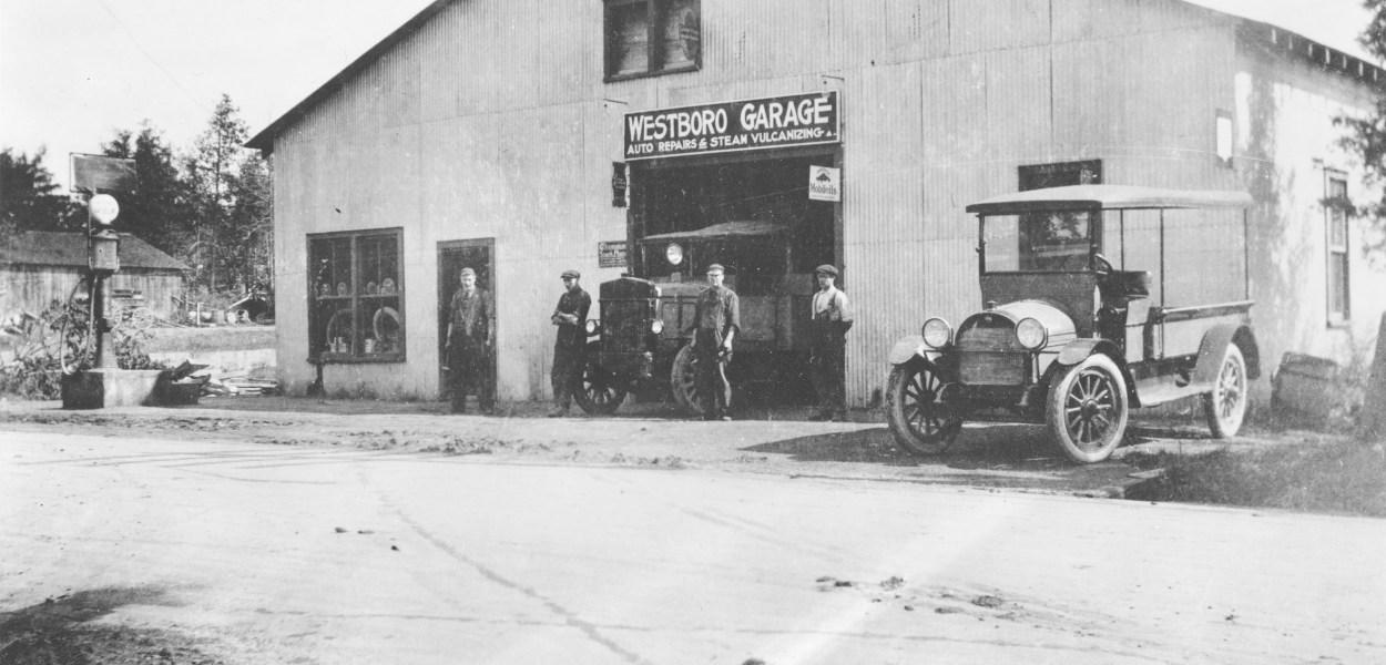 This 1920s era photo of the Westboro Garage inspired this month's column. Photo courtesy Mike Krzyzanowski