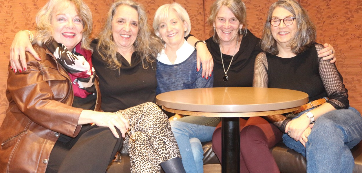 (L-r) Cynthia Cee, Madeleine Pouliot, Cheryl Coull, Carole Johnson and Basia Mair are some of the Kitchissippi residents who are involved with the Big Soul Project, Ottawa's largest community choir. photo by yose Cormier