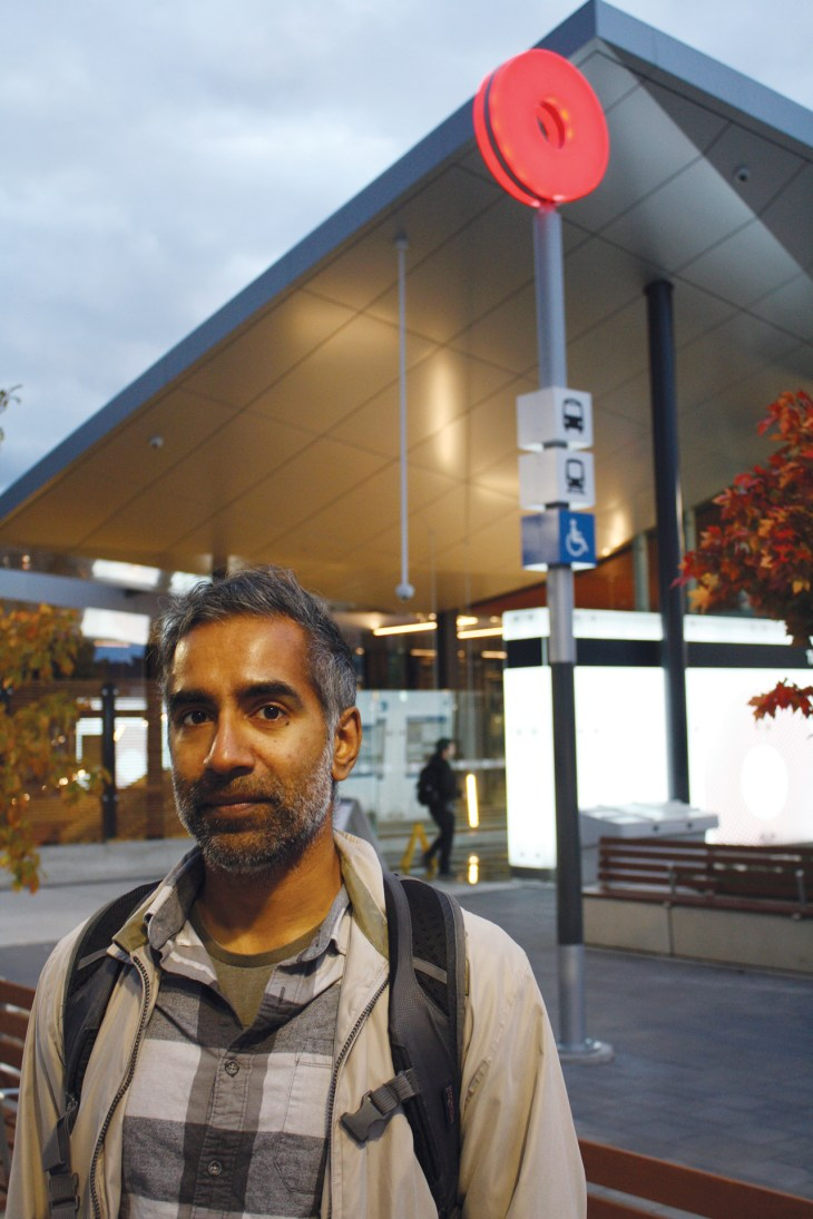 Vikas Nagaraj about to take the Ottawa LRT from the station at Tunney's Pasture.