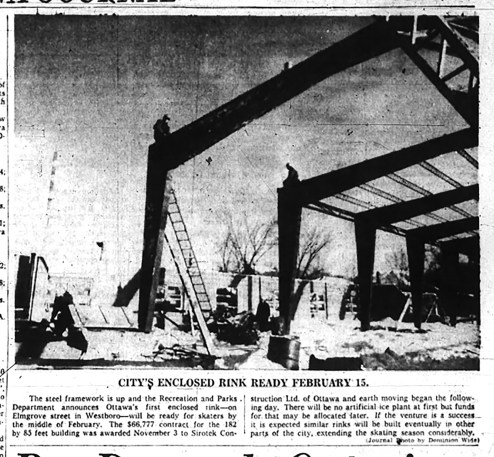 Photo from 1959 Ottawa Journal showing the Elmgrove Arena under construction.