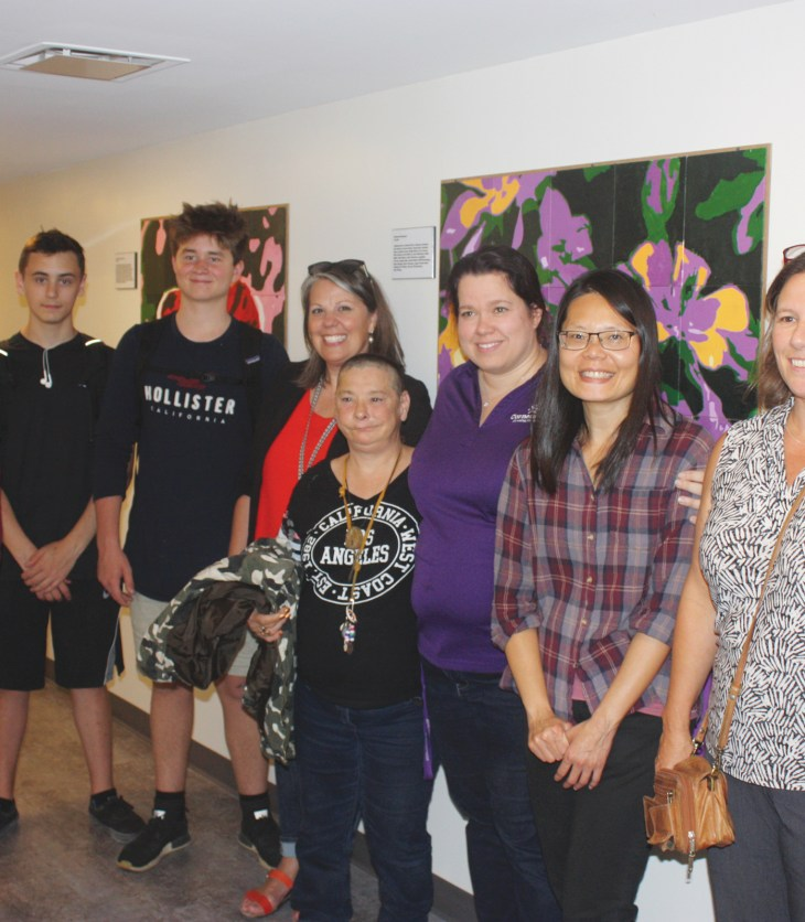 (L-r): Miles Frasca, Lachlan Jones, Timmy Lewis, Nepean High School Principal Krista McNamara, Elizabeth Craig, Terri-Lynn George, 