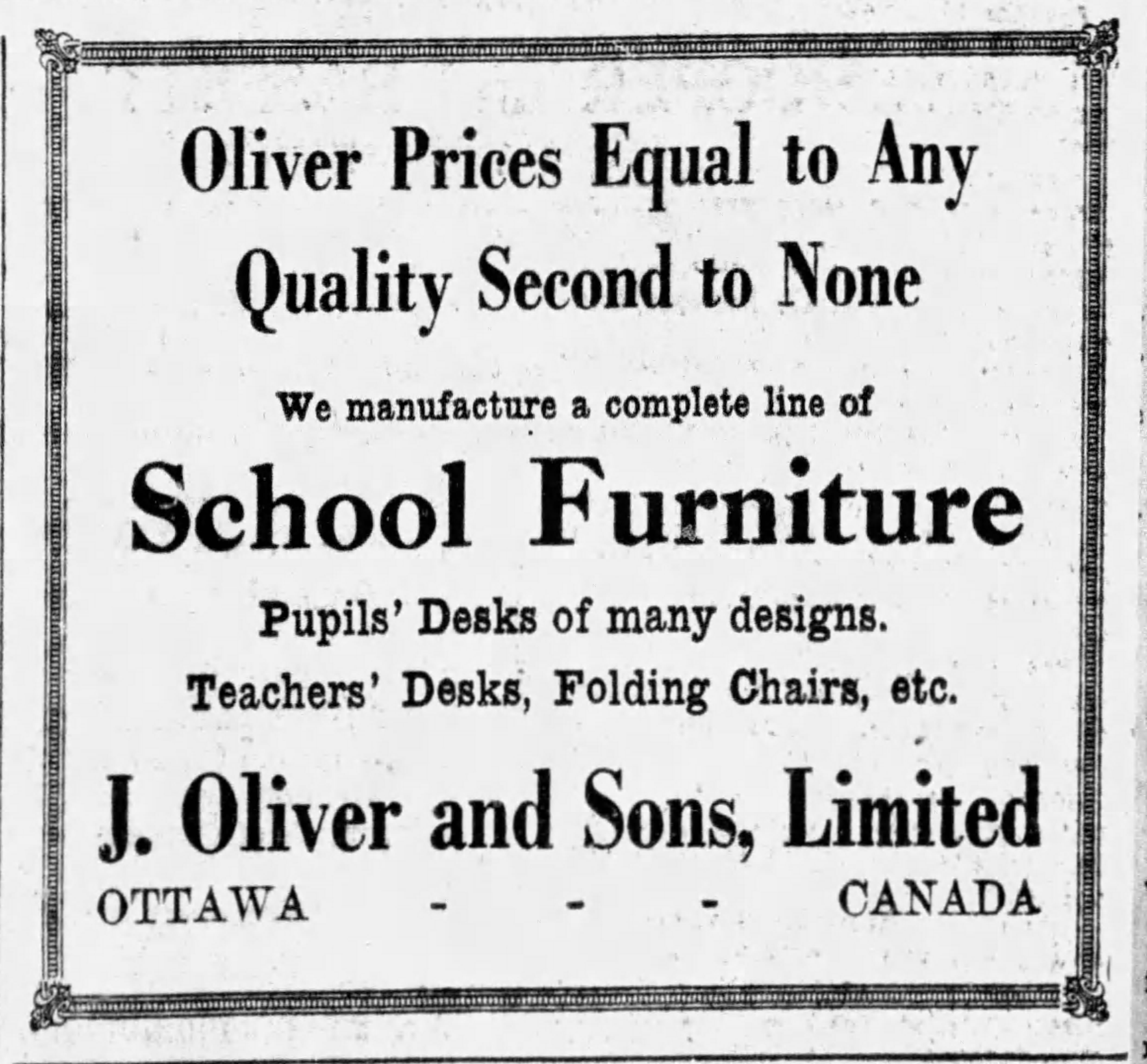 A newspaper ad from the Ottawa Citizen, Saturday, August 11, 1928. advertising school furniture from Olijer and Sons.