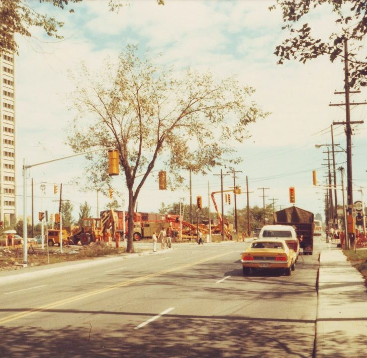 A photo of Scott Street looking east, near Holland, in 1979.