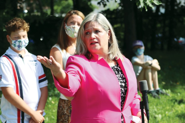 NDP Leader Andrea Horwath speaks at an outdoor event in Kitchissippi.