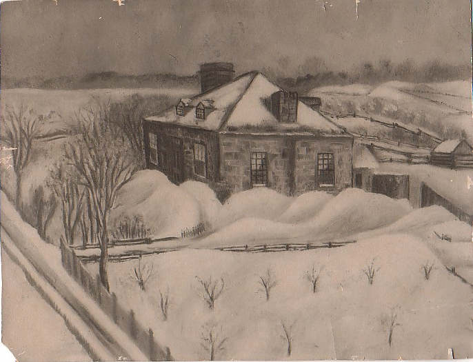 A picture of a black and white painting of Stewart farm in the 1870s.