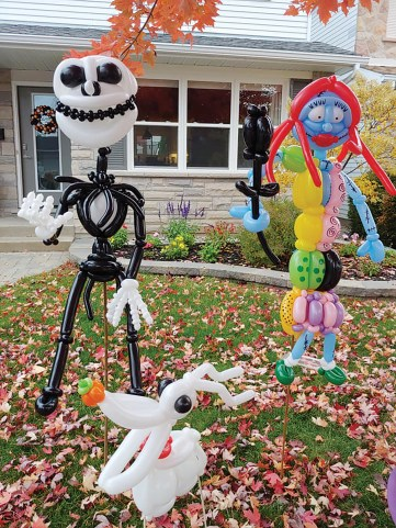 Jack, Sally and Zero from The Nightmare Before Christmas in a display on Oct. 18. Photo courtesy of Brad the Balloon Guy.