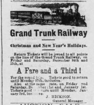 A black and white newspaper ad for Grand Trunk Railway fares that ran in the Ottawa Citizen in 1880.