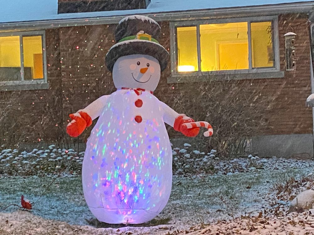 A large lawn snowman in Kitchissippi.