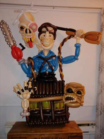 An intricate Evil Dead 2 display that Brad the Balloon Guy made on Oct. 22.