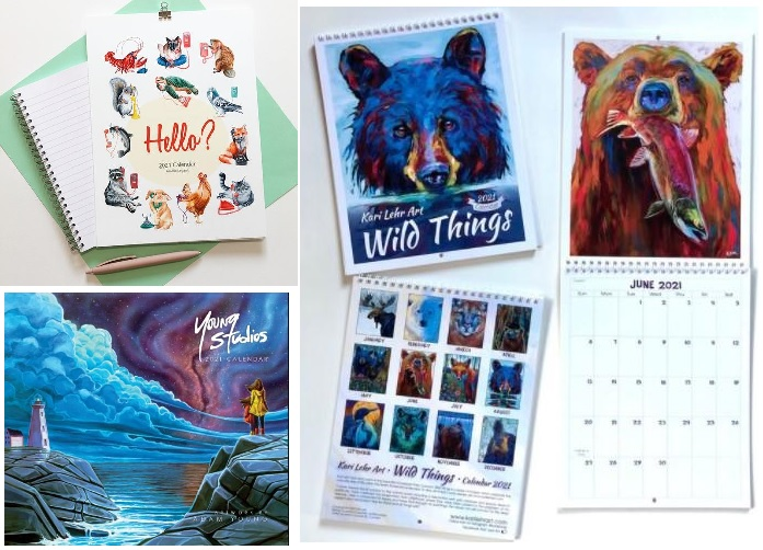 Multicoloured Canadian calendars are seen in a mosaic photo