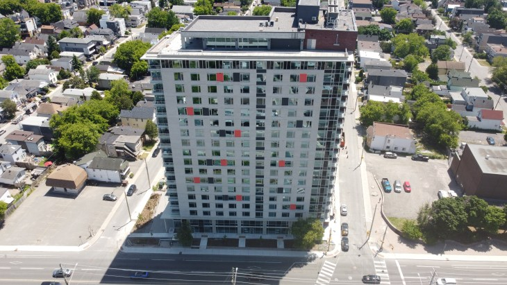 An aerial shot of 175 Carruthers Avenue in Hintonburg on a sunny day
