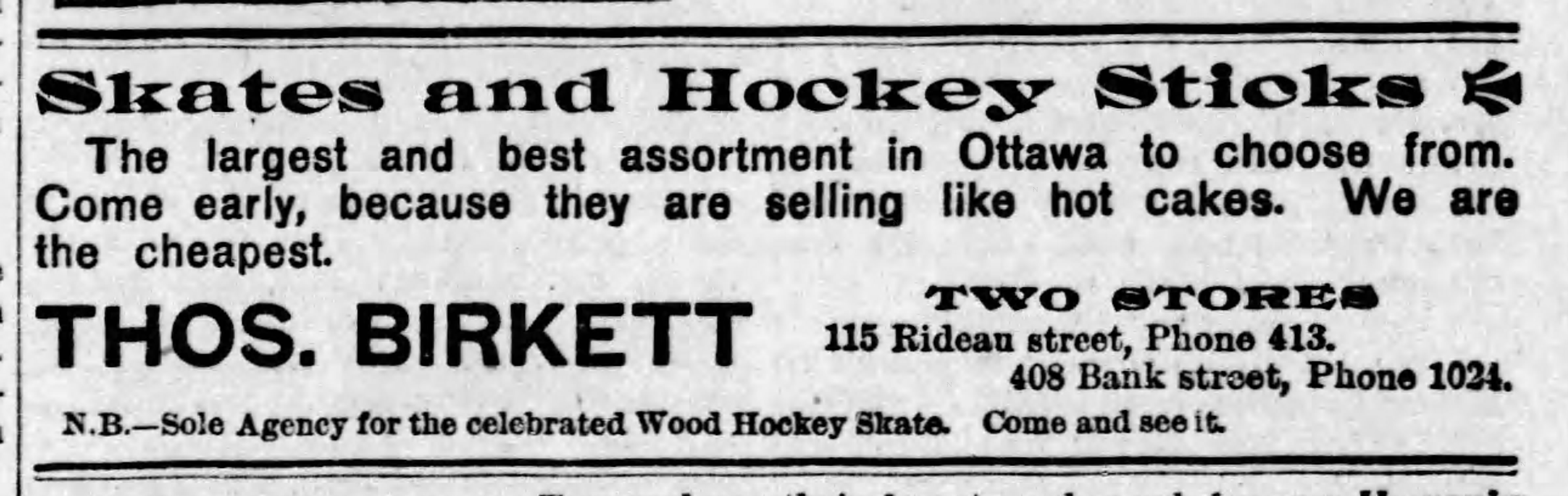 A black and white Thos. Birkett ad for skates in a 1898 newspaper