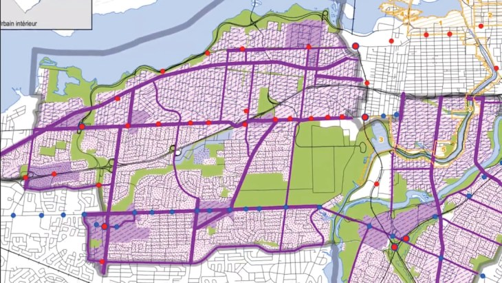 A purple graphic is drawn over downtown Ottawa demonstrating walkable points for future planning