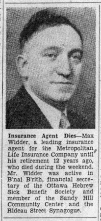 A scanned copy of an Ottawa Citizen article on Max Widder's passing in July 22, 1952 is seen