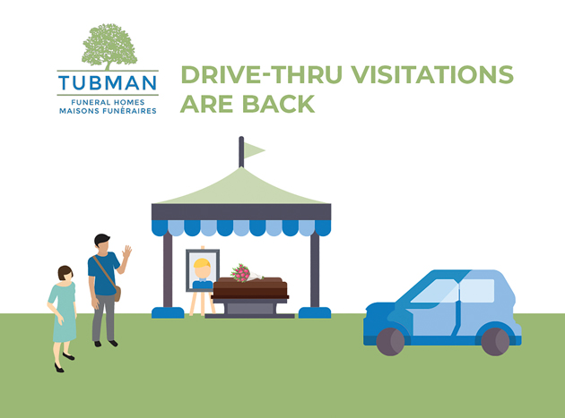 A graphic showing a pop up stand, two people approaching it, a blue vehicle near by with grass beneath