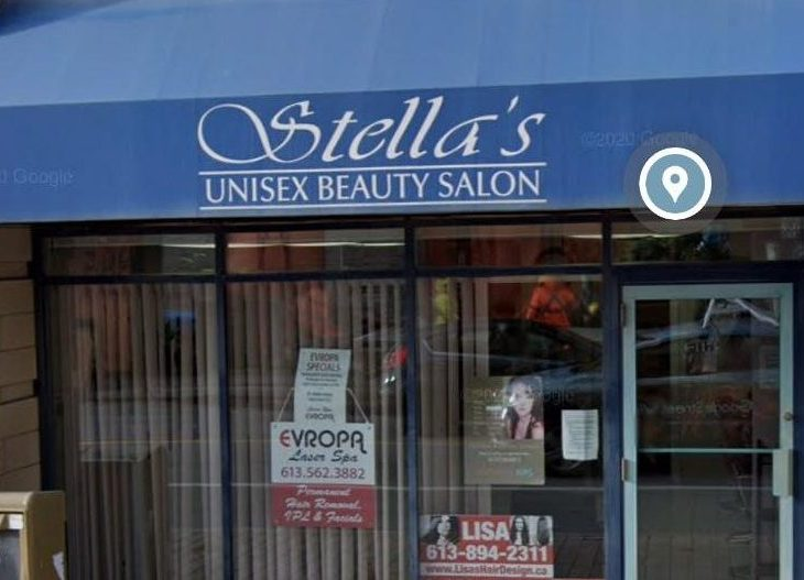 The outside of Stella's Unisex Beauty Salon on a sunny day in Hintonburg
