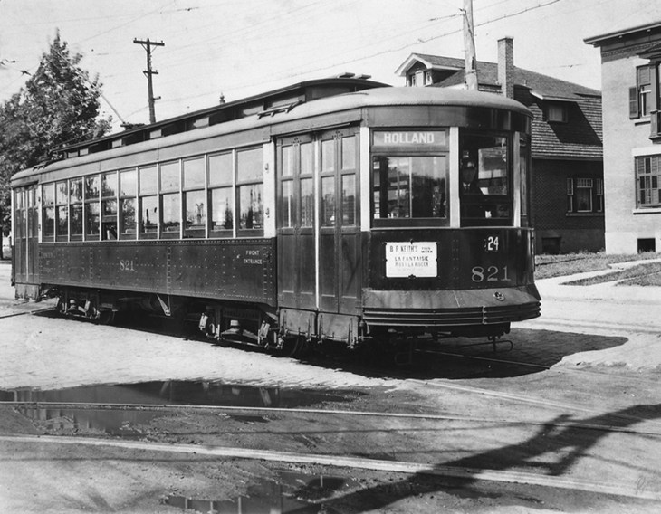 A black and white photo of a streetcar on Holland Avenue in 1964.