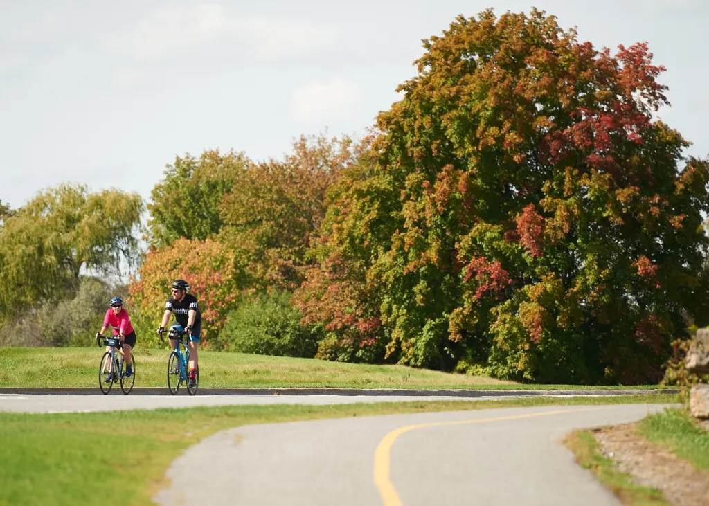 Two people ride on bikes near Westboro Beach on a sunny day with trees in the background