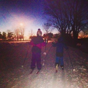 """This is our 6 year old Ellia, teaching her 4 year old brother Will how to ski. It was his first time on skis. It was a beautiful night ski. Thanks, we loved it, every time. Tara O."""
