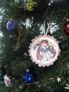One of 6 angel ornaments I made with a kit.