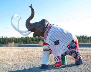 Mammoth yarn bombed by Yarn Bomb Yukon (photo by  Tyler Kuhn)