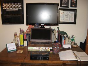 My clean but cluttered desk. Works for me!
