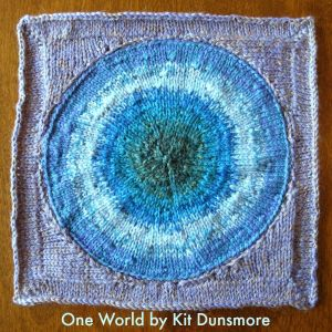 One World, designed and knit by Kit Dusnmore for the Blanket of Peace.