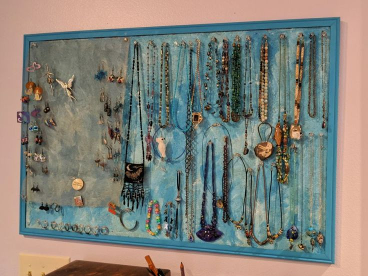 DIY jewelry display/storage board. Photo and board by Kit Dunsmore.