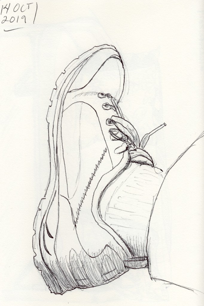 Unfinished ink drawing of a shoe by Kit Dunsmore